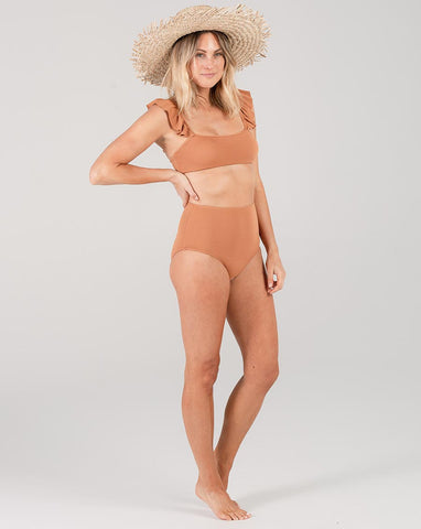 Pique High-Waisted Bikini Bottom - Bronze