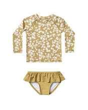 Load image into Gallery viewer, Rylee + Cru Scattered Daisy Rashguard Set | Baby Girls Yellow Rashguards