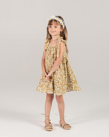 Scattered Daisy Shoulder Tie Dress - Girls