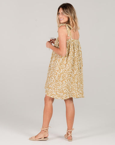 Scattered Daisy Shoulder Tie Dress