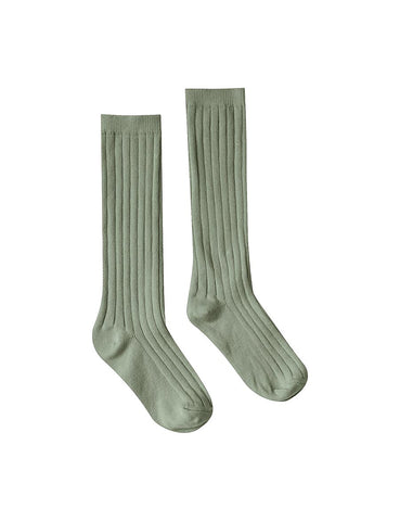 Solid Ribbed Socks - Olive