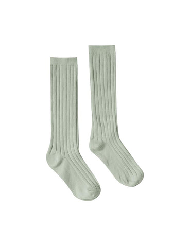 Solid Ribbed Socks - Seafoam