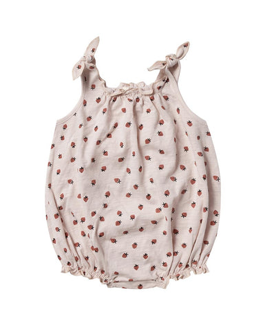 Rylee + Cru Strawberry Shoulder Tie Onesie