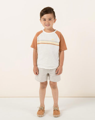 Rylee + Cru Stripe Ranglan Tee Bronze | Little Boys Tees