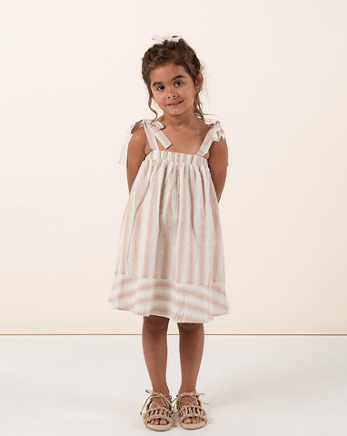 Rylee + Cru Stripe Shoulder Tie Dress for Girls | Girls Stripe Dresses