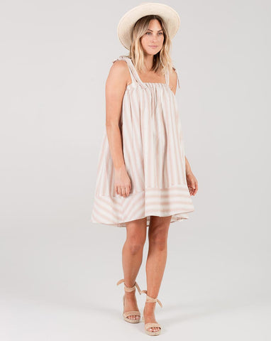Stripe Shoulder Tie Dress - Petal Stripe