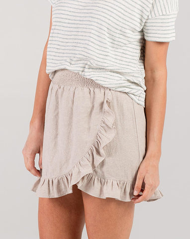 Wrap Ruffle Skirt - Flax