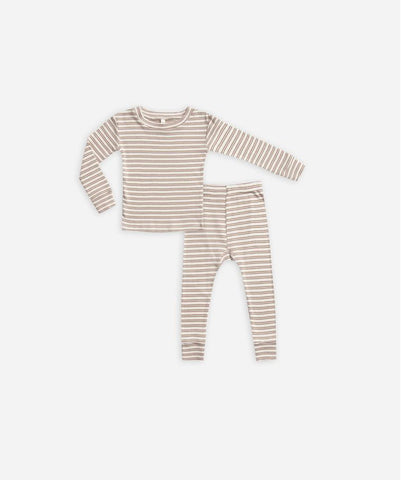 Ribbed Pajama Set Top & Bottom - Truffle Stripe