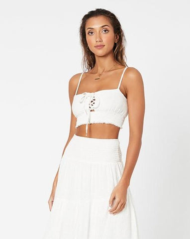 Shifting Sands Crop Cami - White