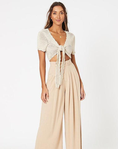 Taylah Wide Leg Pant - Natural