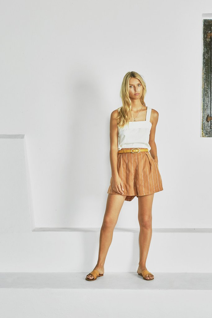 Shop the striped flowy shorts from Sancia