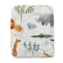 Load image into Gallery viewer, Muslin crib sheet - Safari Jungle by Loulou Lollipop