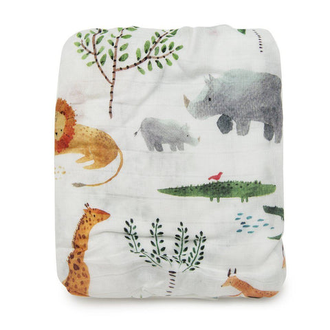Muslin crib sheet - Safari Jungle - Bohemian Mama