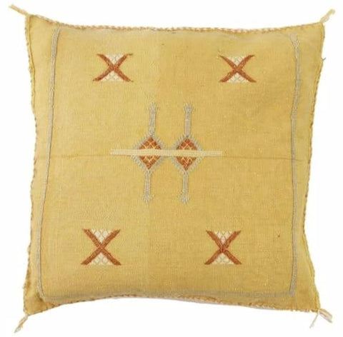 Moroccan Cactus Silk Pillow, Mellow Yellow
