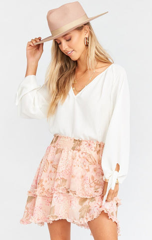 Show Me Your Mumu Shae Skirt in Hydrangea Blooms