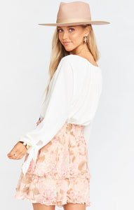Show Me Your Mumu Shae Skirt in Hydrangea Blooms | Pink Mini Skirt