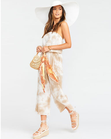 Show Me Your Mumu | Estelle Jumpsuit Twisted Tie Dye Tan | Womens Jumpsuit