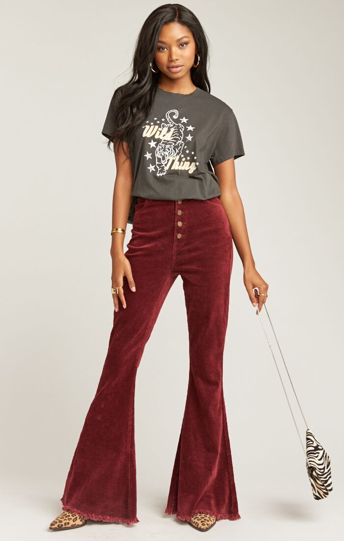 Shop the burgundy corduroy bell-bottom pants from Show Me Your Mumu