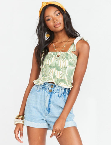 Delia Crop Top Bamboo Palm