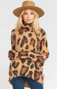 Show Me Your Mumu Fatima Turtleneck Sweater Cheetah Fever Knit