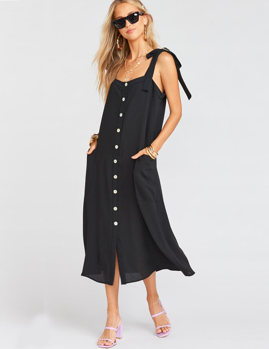Show Me Your Mumu Lucas Midi Dress Black | Women's Black Midi Dreses