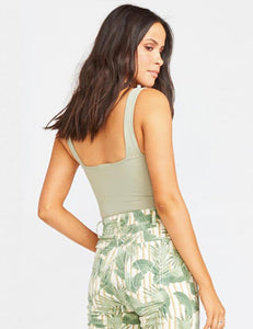 Show Me Your Mumu Rory Bodysuit Sage Stretch | Womens Sage Sleeveless Bodysuit