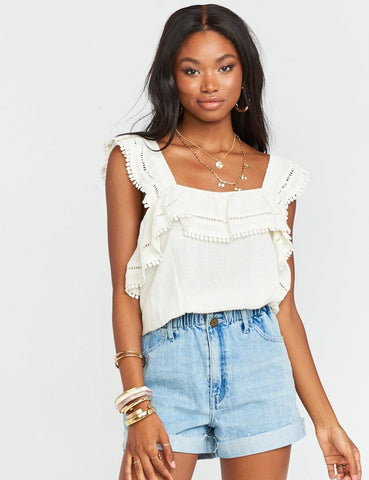 Show Me Your Mumu Rosalina Top White | Womens White Ruffle Tops