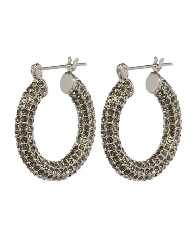 Pave Baby Amalfi Hoops- Silver & Black Diamond