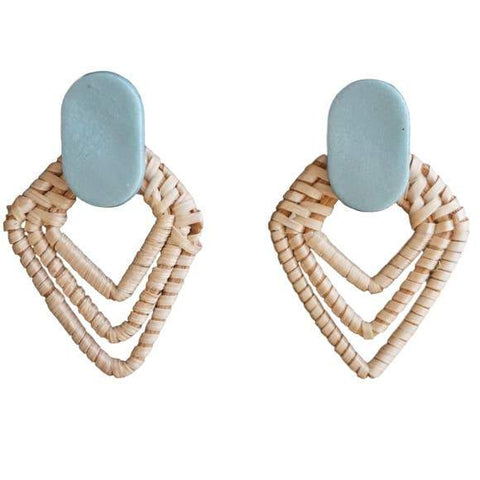Meesha Farzaneh Rattan + Clay | Good Vibrations Studs: Sky Blue