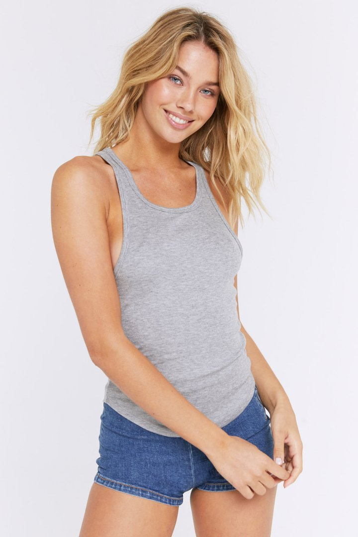 Load image into Gallery viewer, Spiritual Gangster Lena Rib Tank in Heather Grey