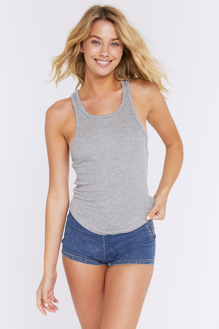 Load image into Gallery viewer, Spiritual Gangster Lena Rib Tank in Heather Grey | Tanks