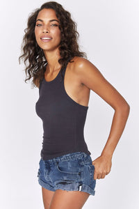 Spiritual Gangster Lena Rib Tank in Vintage Black | Tops for Women