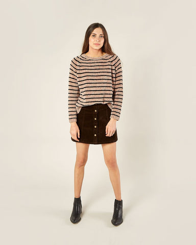 Womens Striped Chenille Sweater