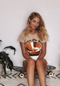 Suede Daze Womens Retro Tee Follow The Sun Tan