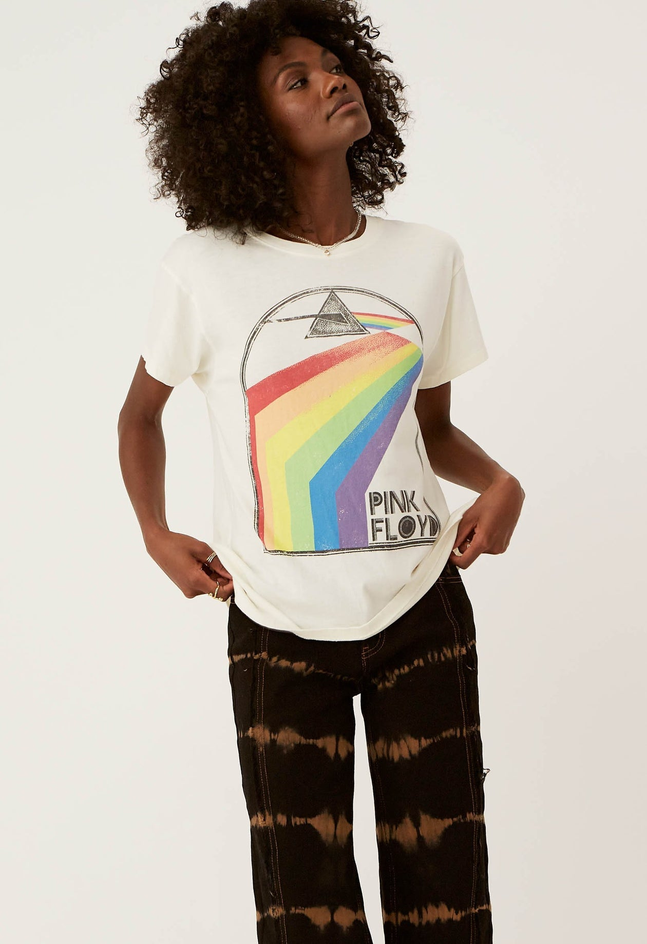 Pink Floyd Retro Rainbow Tour Tee - Stone Vintage | Daydreamer LA - Women's Clothing