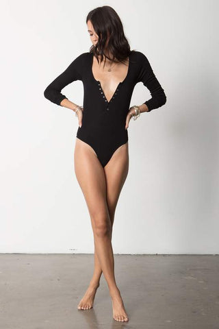 The Snap Front Bodysuit - Black