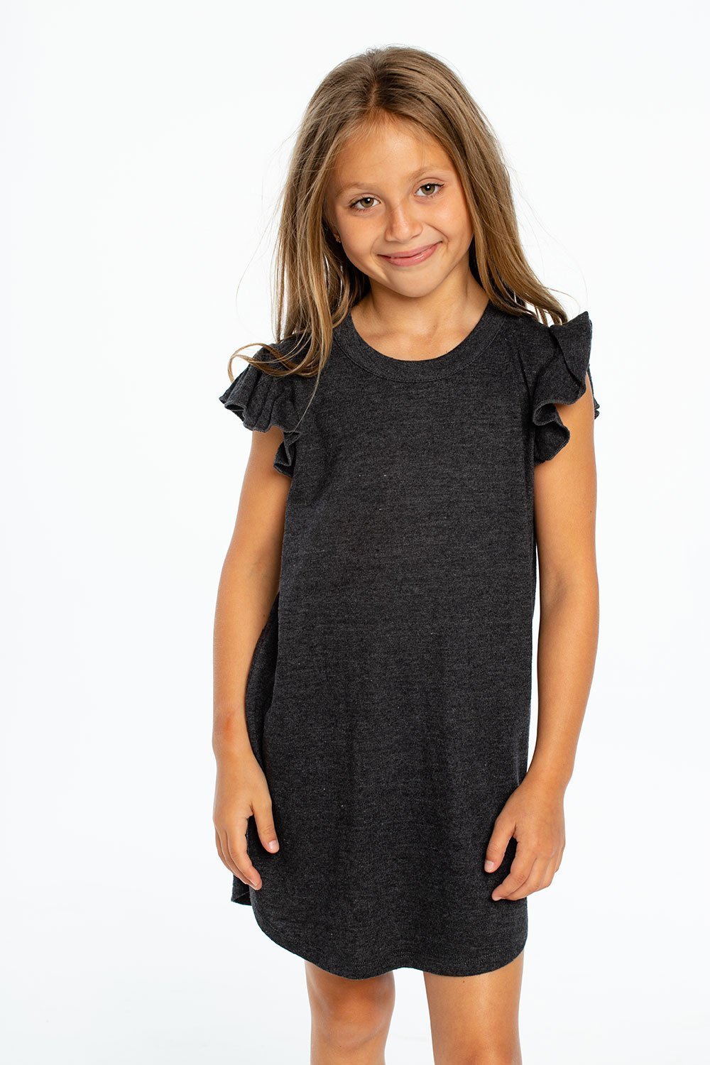 Load image into Gallery viewer, Triblend Flutter Sleeve Shirttail Dress in Black by Chaser Kids | Kids Clothing
