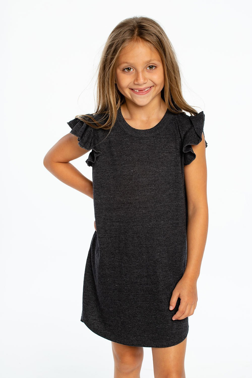Load image into Gallery viewer, Triblend Flutter Sleeve Shirttail Dress in Black by Chaser Kids