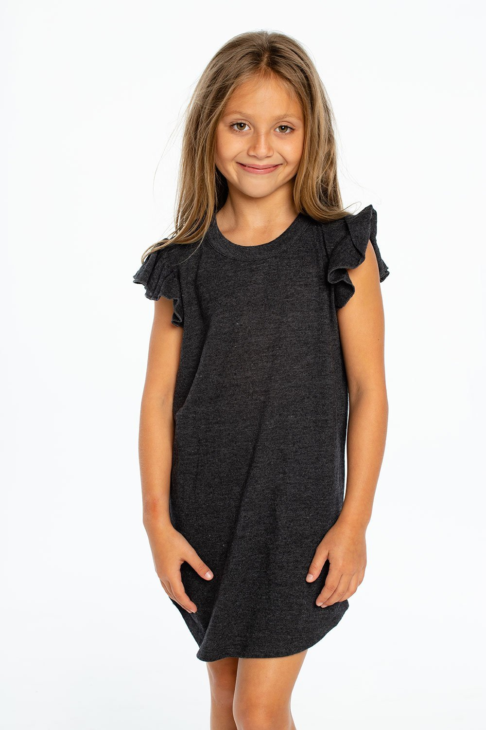 Load image into Gallery viewer, Triblend Flutter Sleeve Shirttail Dress in Black by Chaser Kids | Bohemian Mama