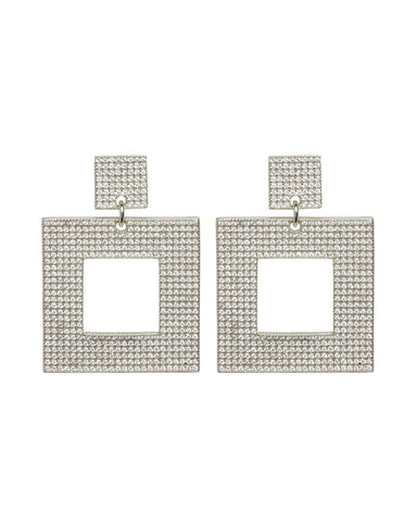 The Pave Box Hoops- Silver