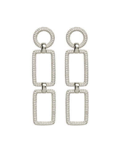 The Pave Chain Link Earrings - Silver
