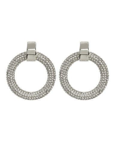 The Pave Door Knocker Hoops - Silver