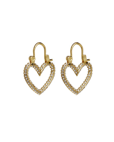 The Pave Mini Heartbreaker Hoops - Gold