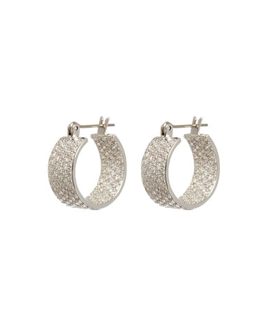 The Pave Positano Hoops - Silver