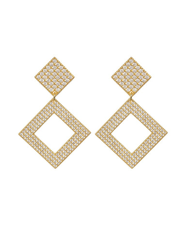 The Pave Princess Earrings - Gold