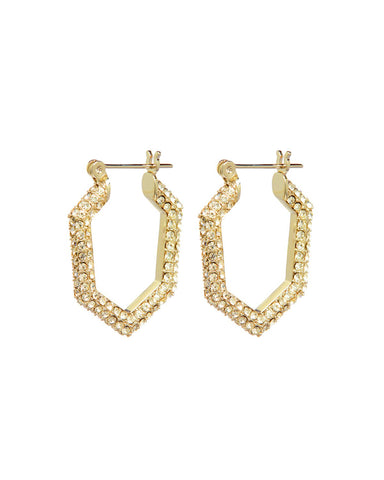 Pave V Hoops - Gold