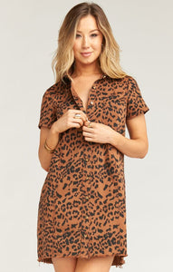 The Cyrus Mini Dress in Bronze Leopard by Show Me Your Mumu | Dresses