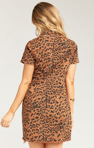The Cyrus Mini Dress in Bronze Leopard by Show Me Your Mumu | Mini Dresses