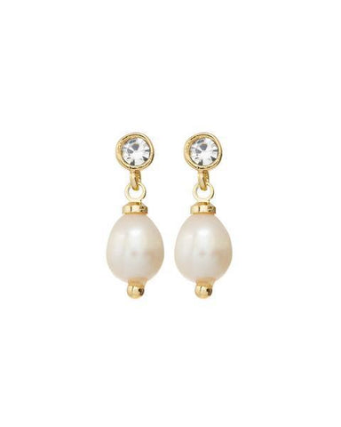 The Diamonte Pearl Studs - Gold