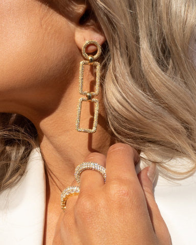 The Pave Chain Link Earrings - Gold